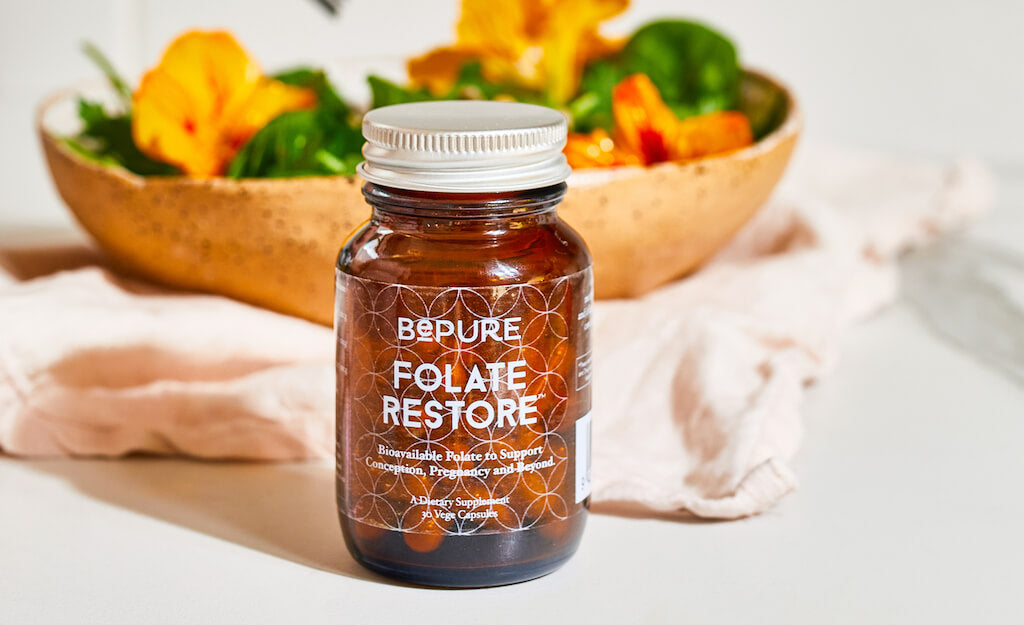 BePure Folate Restore and leafy green salad