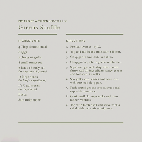 Ben's Breakfast Green Souffle Recipe