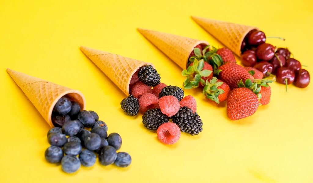 ice cream cones filled with fruit for good gut health