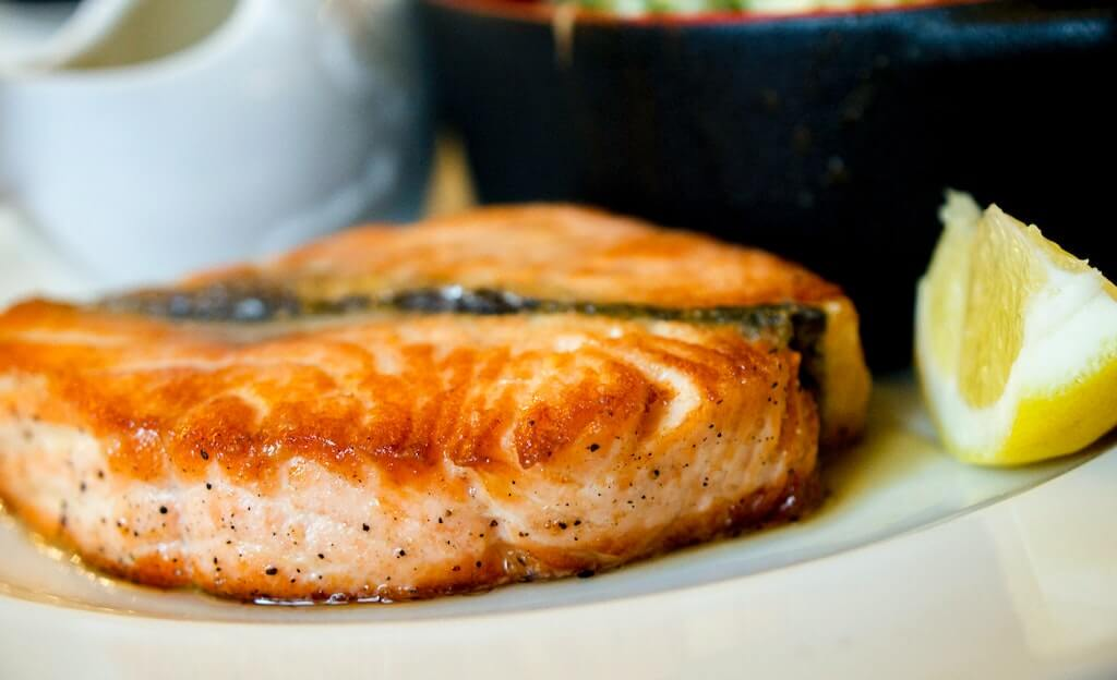 omega 3 rich salmon on a plate