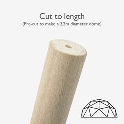 Pre-cut birch poles for 3.2m dome