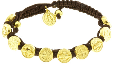St Benedict Medal Corded Bracelet with Miraculous Medal - Brown with Booklets