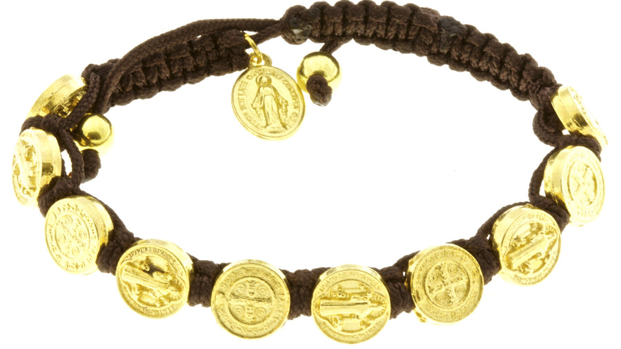10 St Benedict Medal Corded Bracelet with Miraculous Medal - Brown with Booklets