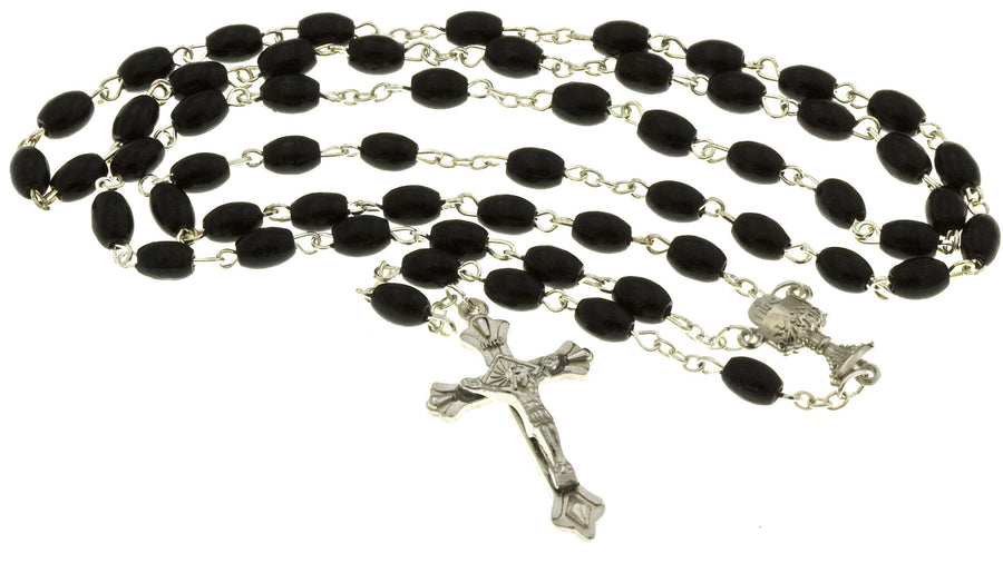 Black Wood Bead Chrome Rosary & Praying Booklets