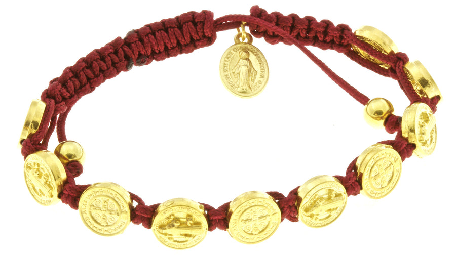 10 St Benedict Corded Bracelet Red with Miraculous Medal and Prayer Booklets