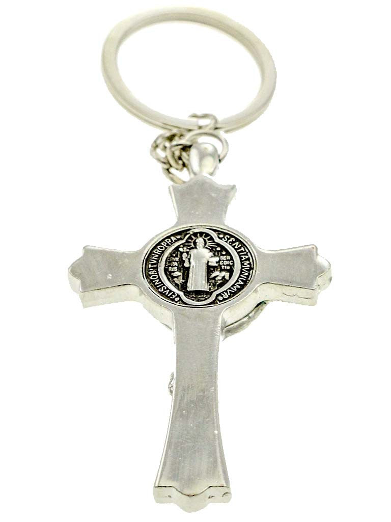 St Benedict Crucifix Keychain Chrome with a Prayer Booklets