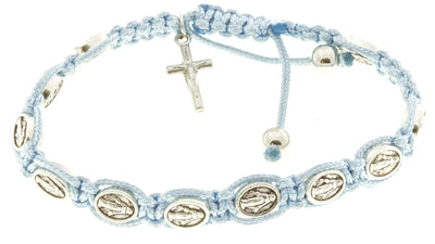 Light Blue Cord Miraculous Medal Rosary Bracelets with Prayer Booklets