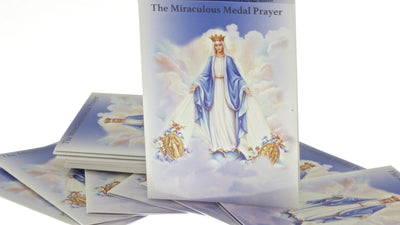 10 Miraculous Medal Corded Rosary Bracelet Light Blue and Prayer