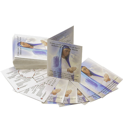 100 Tarjetas de Bolsillo del Rosario de los 7 Dolores de Maria Tarjetas Plegable (100 Seven Sorrows Rosary Prayer Booklets in Spanish)