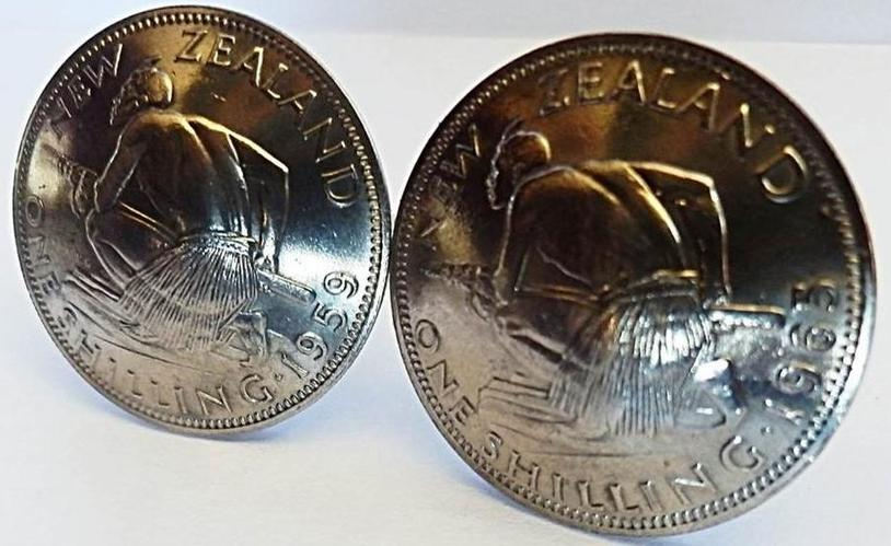 CO Silver NZ shilling Cufflinks