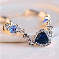 Heart Of Ocean Bracelet in 925 Fine Silver with Blue Crystal Rhinestone