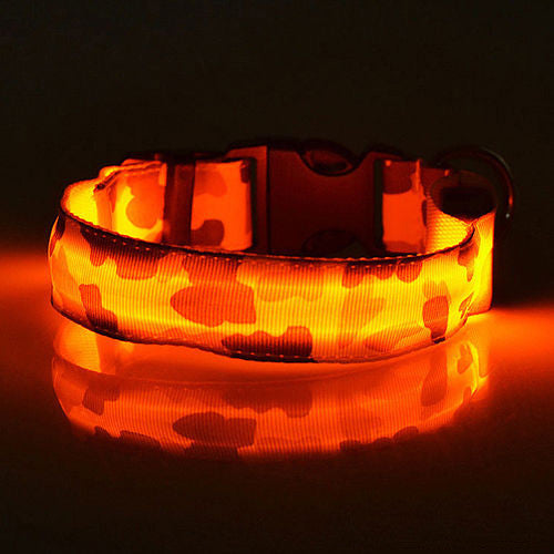 Light up LED Adjustable Nylon Camo Pet Dog Safety Collar
