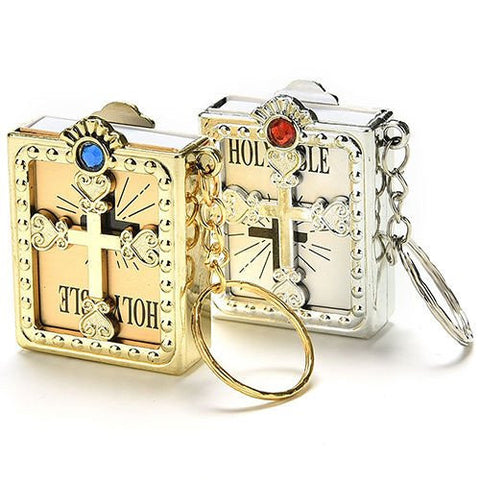 Free Mini Holy Bible  Key Chain Tiny Gold or Silver