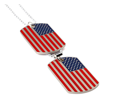 Army Style America Flag Dog Tag  Pendant Mens  Necklace