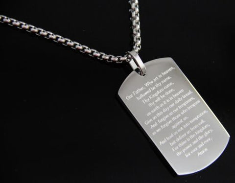 """The Lord's Prayer"" Silver Stainless Steel Dog Tag 24"" Necklace"