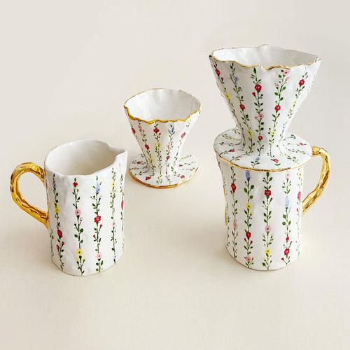 Pour-Over Floral Coffee Maker Set