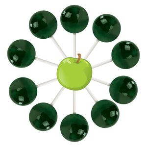10ct Green Apple Lollipop Bag