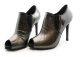 Donna Piu Mani Per Leather High Heel Shoe Pewter Pair