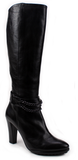 Lady Doc - Leather Tall Boots with chain detail