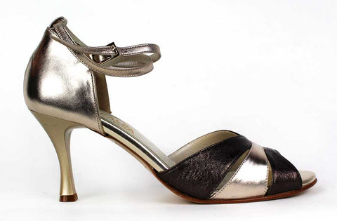 ESMERALDA - Open-Toe Pump with Bronze Colour Pattern - KALENA's Shoes