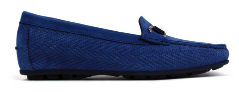 KALENA'S - Suede Blue Loafers with Chain Detail. - KALENA's Shoes