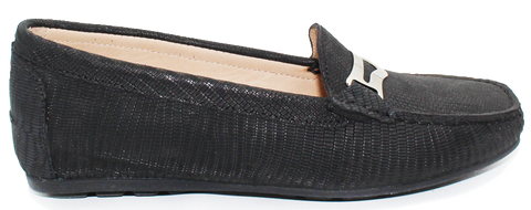 Kalena's Nubuk Textured Slip-On Moccasin Black Side