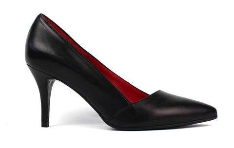 CARMEN - Leather Pumps with Mid Sized Heel - KALENA's Shoes