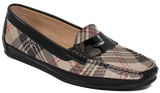 Kalena's Flat Patent Plaid Moccasin Angled