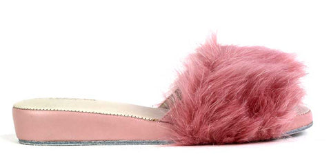 KALENA'S - Slippers with Faux Fur Design - KALENA's Shoes