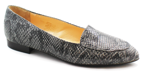 Kalena's Leather Snake Print Shoe Gray Angled