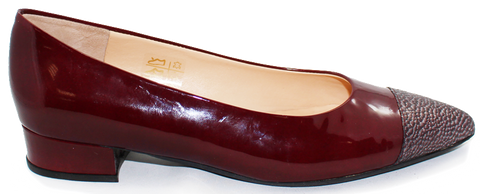 Kalena's Patent Low Heel Pump Burgundy Side