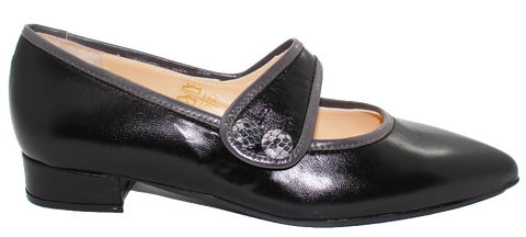 Kalena's Leather Shoe With Strap Black Side