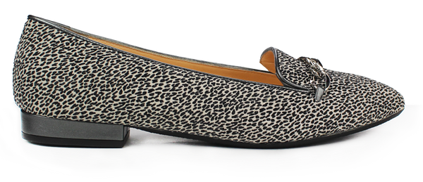 KALENA'S Animal Print Flat with Gold Chain