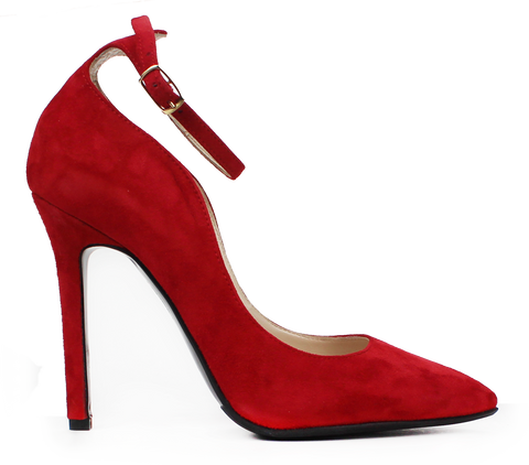 CARMEN Red Suede High Heel with Strap