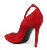 CARMEN Red Suede High Heel with Strap - KALENA's Shoes