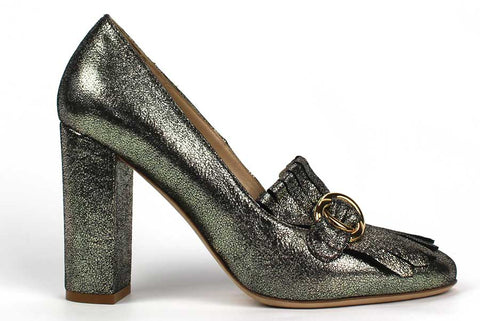 CARMEN - Leather Pump with Green Metallic Finish and Fringe Detail - KALENA's Shoes