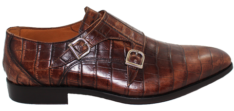 Doucal's Leather Croc Print With Buckle Side