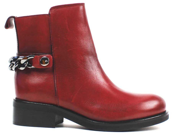 KALENA'S - Red Leather Boots with Chain Detail - KALENA's Shoes