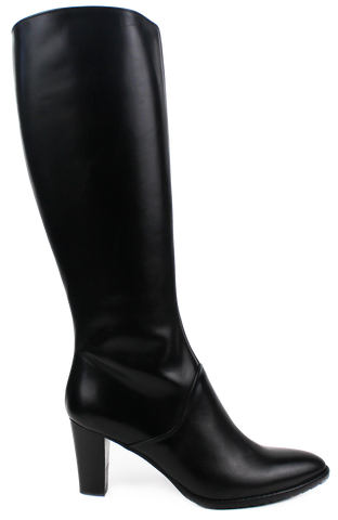 XSA - Mid-Heeled Knee High Leather Boots - KALENA's Shoes