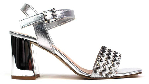 KALENA'S - Open-Toe Sandal with 3 Inch Silver Heel - KALENA's Shoes