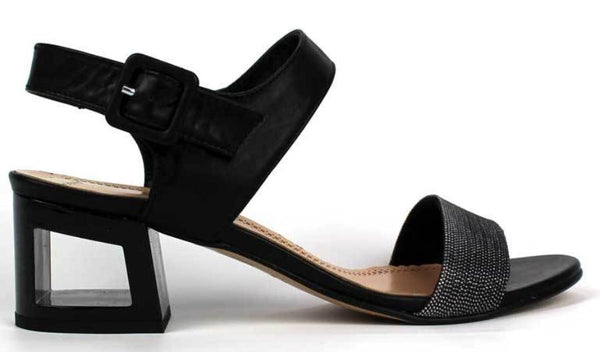 LADY DOC - Leather Open Toe Sandal with Mid Sized Heel - KALENA's Shoes