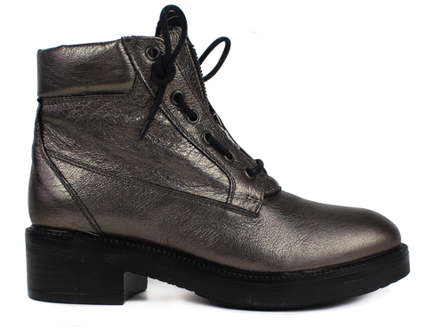 MALLY - Cracked Silver Leather Ankle Lace Up Boots - KALENA's Shoes