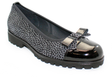 Vernissage Suede Shoe with Leopard Print Gray Angled