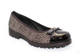 Vernissage Suede Shoe with Leopard Print Taupe Angled
