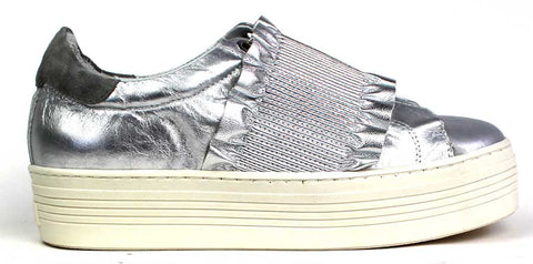 KALENA'S - Silver Slip-On Shoe with Stitching Detail - KALENA's Shoes