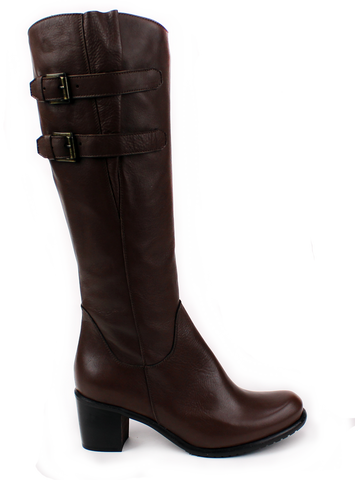 LADY DOC - Brown Tall Boot with Buckles