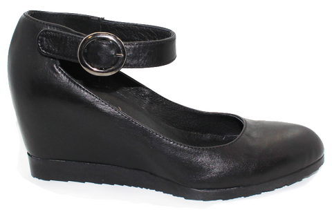 Donna Piu Leather Hidden Wedge Black Side