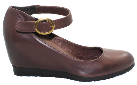 Donna Piu Hidden Wedge With Ankle Strap Brown Side