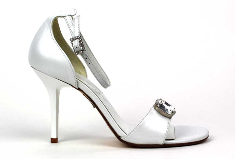KALENA'S - White Sandals with 4 Inch Heel and Rhinestone Detail