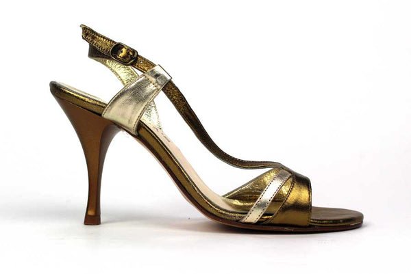 KALENA'S - 4 Inch Heel with Gold Finish and Ankle Strap